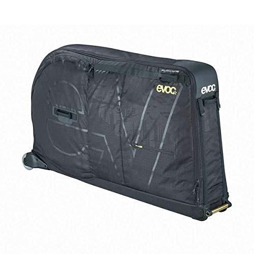 EVOC BIKE TRAVEL BAG PRO Fahrrad Transporttasche geeignet für Flugzeug inklusive Clip-On Wheel + Bike Stand & Frame Pad (310l, max. Radstand 130 cm oder 29 Zoll), Schwarz