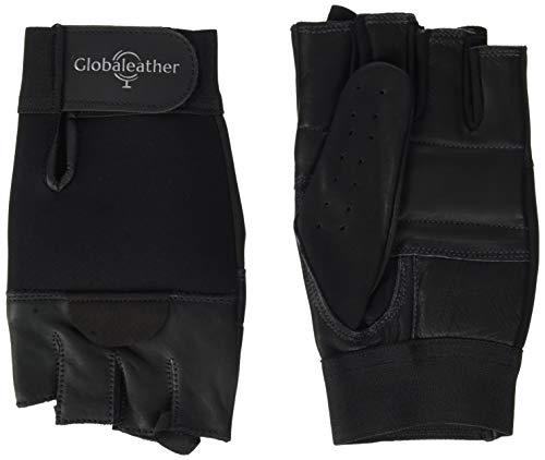 Homecraft Leder Rollstuhl Handschuhe, Schwarz, Finger-Less, Gepolsterte Handschutz für manuelle Rollstühle, Fahrradfahren, Radfahren, Fitness, Einstellbarer & atmungsaktiv