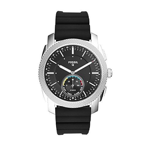 Fossil Q Men's Machine Black Silicone Hybrid Smartwatch FTW1164