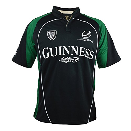 Guinness Black and Green Short Sleeve Performance Rugby Shirt (Medium)