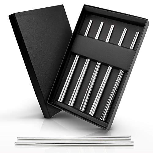 AB Premium Edelstahl Essstäbchen Set 5 Paar 10 Stück | Metall Chopsticks in hochwertiger Qualität | Stäbchen perfekt für Sushi, Koreanische, Chinesische, Japanische und Asiatische Küche Silber