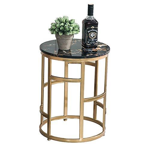 Table Basse en marbre Nordic Modern Gold Iron Art Sofa Table d'appoint Petite Table Ronde Table de Chevet de Chambre Mini Table, 15,3\