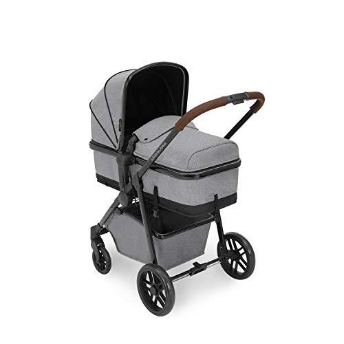 Ickle Bubba Moon i-Size - Sistema de viaje 3 en 1 con base Isofix | El paquete incluye silla de paseo HBR-X1 Plus Mercury asiento de coche, accesorios | gris espacial sobre chasis negro