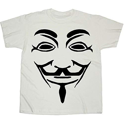 V For Vendetta Zwart Line Masker Wit T-shirt | XL