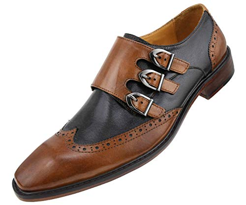 Asher Green Mens Genuine Two-Tone Leather Dress Shoes, Comfortable Triple Monk Strap Wingtip Oxfords Tan