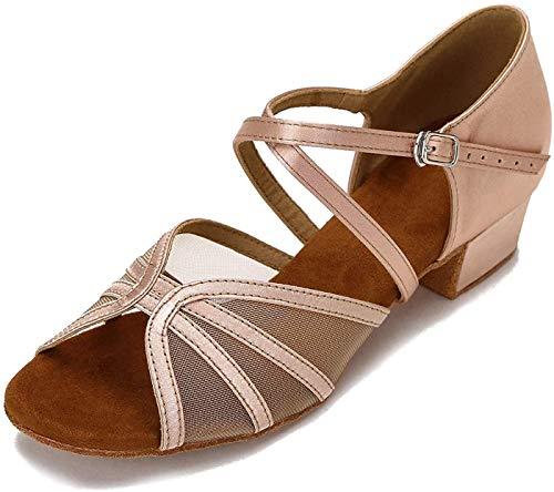 CLEECLI Low Heel Ballroom Dance Shoes Women Latin Salsa Practice Dancing Shoes 1.5 Inch Heel ZB14(7 Nude)