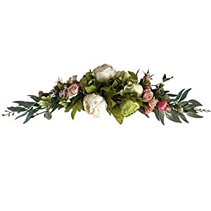 Silk Flower Arrangements 不适用 Peony Flower Swag Artificial Wreath, 24 Inch Decorative Swag with Fake Roses and Green Leaves for Home Room Garden Lintel Wedding Arch Front Door Wall Decor