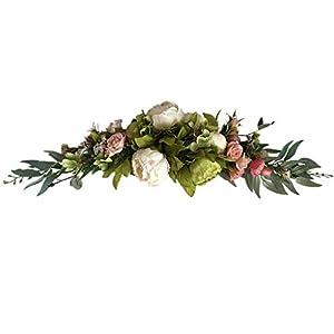 不适用 Peony Flower Swag Artificial Wreath, 24 Inch Decorative Swag with Fake Roses and Green Leaves for Home Room Garden Lintel Wedding Arch Front Door Wall Decor