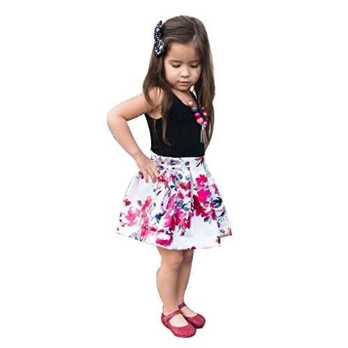 Festliche Babymode Kindermode Mädchen Kleider Longra Baby Kinder Kleider Ärmellos Schwarz T-Shirt Tops Blumenrock Mädchen schöne Sommerkleider Baby Kinder Kleidung (Black, 110CM 4Jahre)