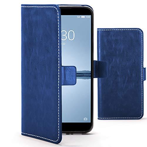 Forefront Cases Funda De Teléfono Premium para Meizu 15 | Fabricado y Cosido A Mano | Billetera y Diseño Multifuncional | Protección Doble contra Golpes y Caídas | Azul Marino