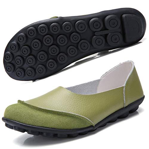 Hsyooes Damen Mokassin Bootsschuhe Leder Loafers Fahren Flache Schuhe Halbschuhe Slippers Erbsenschuhe, Grün, (Herstellergröße: 38/37.5 EU)