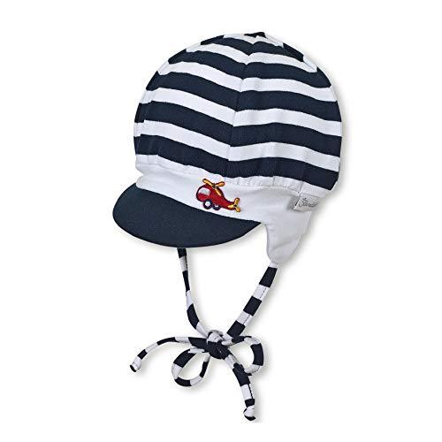 Sterntaler Baby-Jungen Schirmmütze mit Bindebändern und Ohrenklappen , Blau (Marine blau), 45