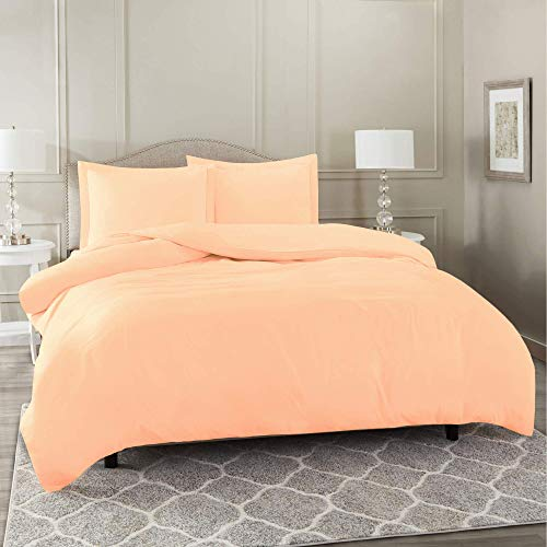 LinenEra 1 Piece Premium Duvet Cover Set with Zipper & Corner Ties 100% Egyptian Cotton 600 Thread Count Luxurious Ultimate Softness and Comfort Duvet Cover(Peach,Cal King/King)
