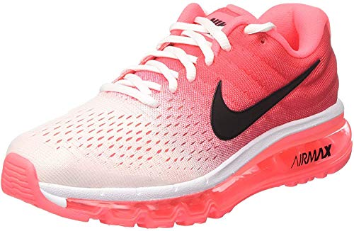 Nike Womens Air Max 2017 Running Shoes (10, White/Black/Hot Punch)