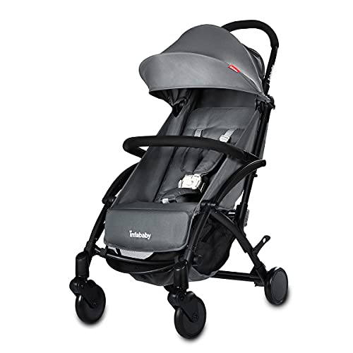 Infababy® Ezeego Stroller Next Generation/Stylish Design/New Born to 3 Years Toddler/Comfortable 5 Backrest Positions/Free Raincover & Carry Bag/Suitable for Travelling - Lunar Grey