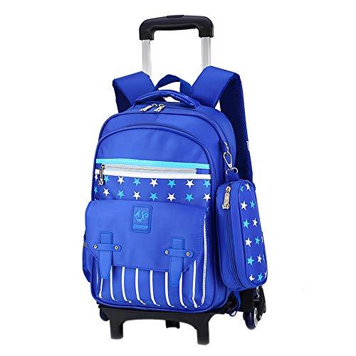 BOZEVON Kinder Trolley Schultasche - Kinder Jungen Mädchen Neue Art Wasserdicht Sechs-Rad-Rucksack für Schüler Grundschüler - Dunkelblau