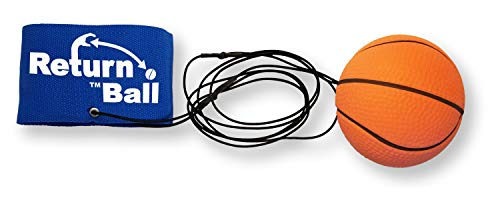 Return Ball - Basketball - Fun Single Player Toy for Indoor or Outdoor Play - Wrist Rebound Ball Fun for Friends and Family - Great as a Gift or a Present - Improve Coordination and Reaction Time