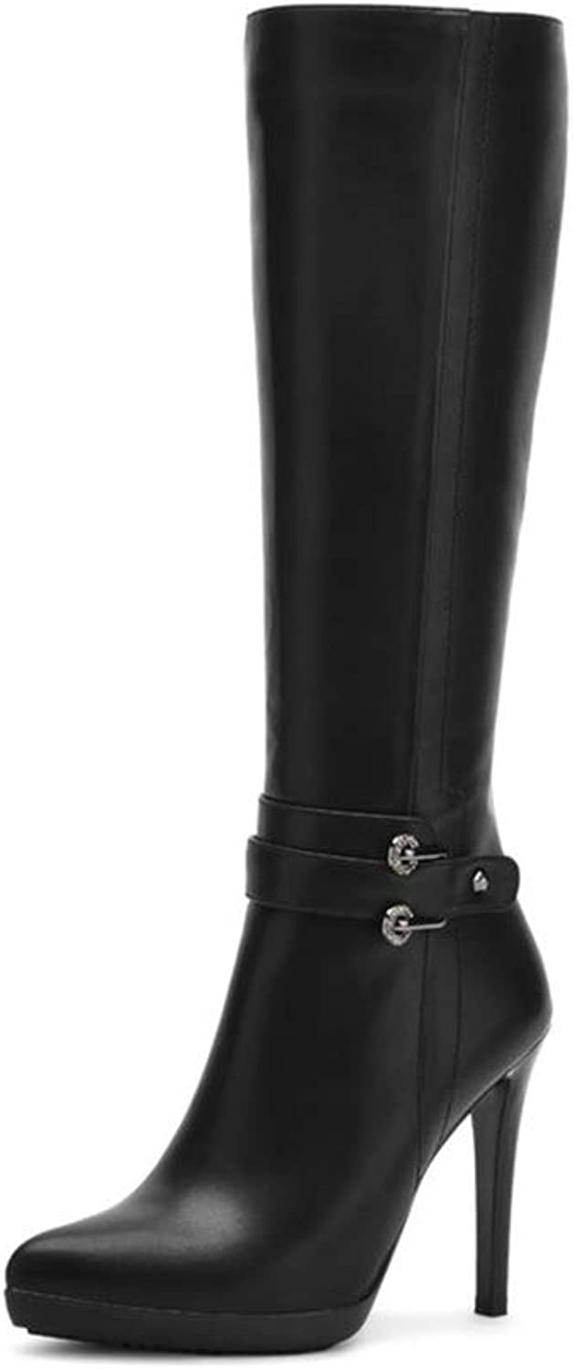 Hoxekle Knee High Boots Women Winter Thin High Heel Pointed Toe Long Plush Fur Boot Black Casual Classic shoes