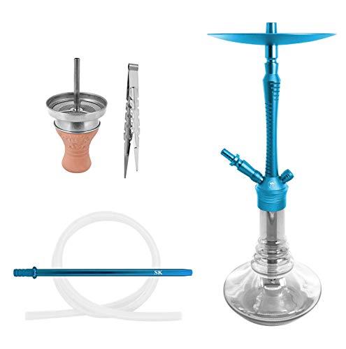 Shisha King® Daytona Shisha Set + Zubehör | Ein Anschluss Wasserpfeife Komplett Schlauch Kopf Mundstück Aufsatz | Waterpipe (skyblue)