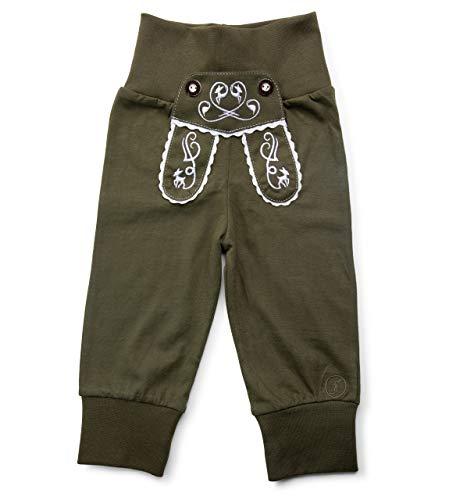 Schöneberger Trachten Couture Baby Stoffhose im Lederhosen Design – Babyhose mit elastischem Bund – Mädchen Pumphose Kinderhose REH (62/68, Grün)