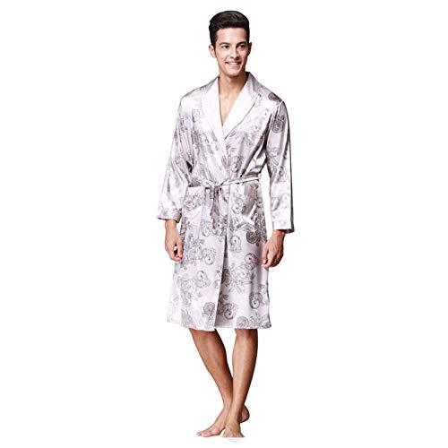 NUELLO Impresión Satín Albornoz,Ligero Delgado Bata De Baño Kimono Seda Ropa Casual Acogedora Cuello De Chal SPA Albornoz para Hombre-Gris-Large