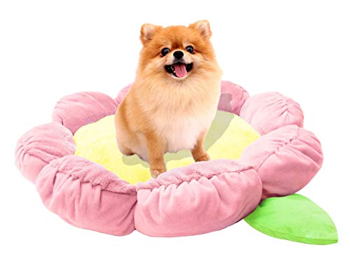 """TONBO Soft Plush 24"""" Cute and Cozy Flower Dog Cat Bed, Washer and Dryer Friendly, (Pastel Pink)"""