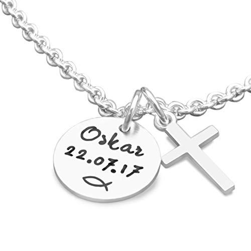 Taufkette mit Gravur Junge MEINE TAUFE KREUZ 925 Silberkette Namenskette mit Gravur Taufgeschenk