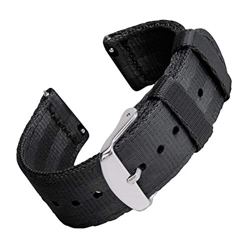 Archer Watch Straps | Sicherheitsgurt Stil gewebtes Nylon Quick Release Ersatz Uhrenarmband für Damen und Herren, Uhrenband für Uhr und Smartwatch | Schwarz, 20mm