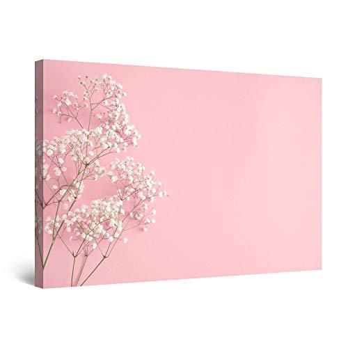 Startonight Cuadro Moderno en Lienzo - Flores Blancas en Rosa - Pintura Naturaleza para Salon Decoración 60 x 90 cm