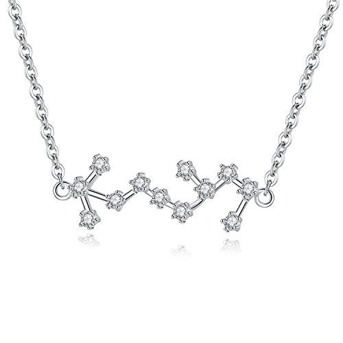VIKI LYNN Scorpio Zodiac Necklace 925 Sterling Silver Cubic Zirconia Star Sign Jewellery Birthday Gifts for Women Girls