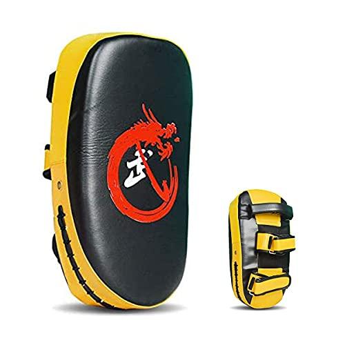 Cozywind Guanti da MMA Thai Boxe Shield Piede Curvo Target Taekwondo Training Boxer Target USA Punch Target per Allenamento, Kickboxing,Taekwondo e Sanda (Giallo-2)