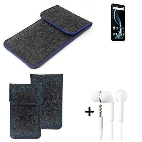 K-S-Trade Filz Schutz Hülle Für Allview X4 Soul Infinity Plus Schutzhülle Filztasche Pouch Tasche Handyhülle Filzhülle Dunkelgrau, Blauer Rand Rand + Kopfhörer