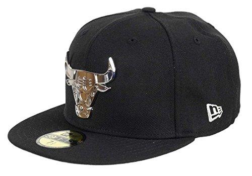 New Era - Gorra de Chicago Bulls - 59fifty - Insignia de metal plateado Ii - Negro. Negro 57