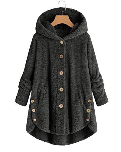VONDA Womens Fleece Coat Blanket Jumper Hoodie Comfy Long Jacket Teddy Bear Outwear A-Dark Grey S
