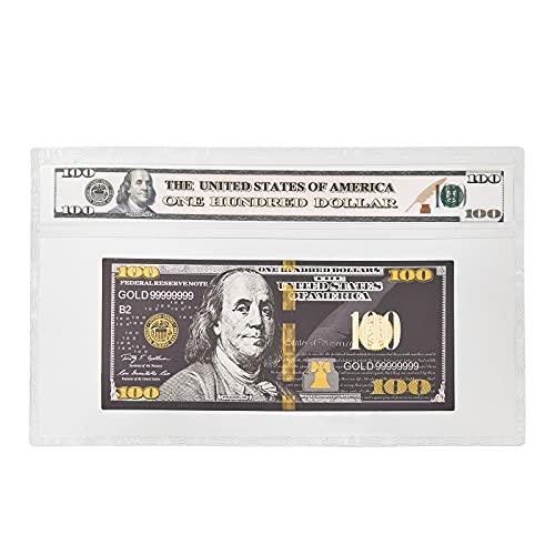 Lorklse Gold Foil Money 1 Pcs 100 Dollar Plated Leaf Crafts (Black Gold)