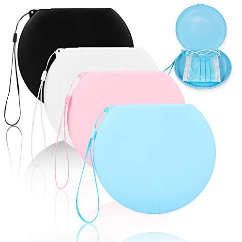 Caja para Guardar Mascarillas, 4Colores Hermético Estuche Redondo para Almacenar Máscaras Organizador Portátil Plástico para Mascarillas Ligero y Reutilizable Protege Suciedad y Polvo, con cordón