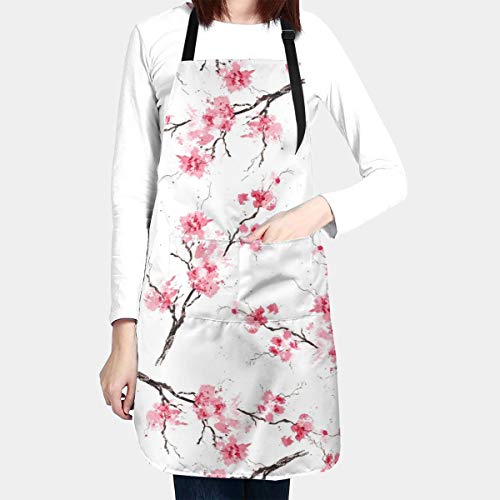 Sakura Branches Apron Watercolor Water Proof Baking Apron for Women with 2 Front Pockets and Adjustable Neck & Long Ties for Everyday Basic Home Kitchen Artist Crafting Restaurant
