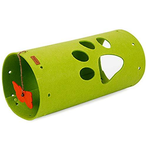 Gaetooely Naturfilz Katzen Tunnel Mat Kombinierte NNHte Faltbare Katze Abspielen Kanal Roll Drachen Drachen Puzzle Katzen Spielzeug Haustier GrüN