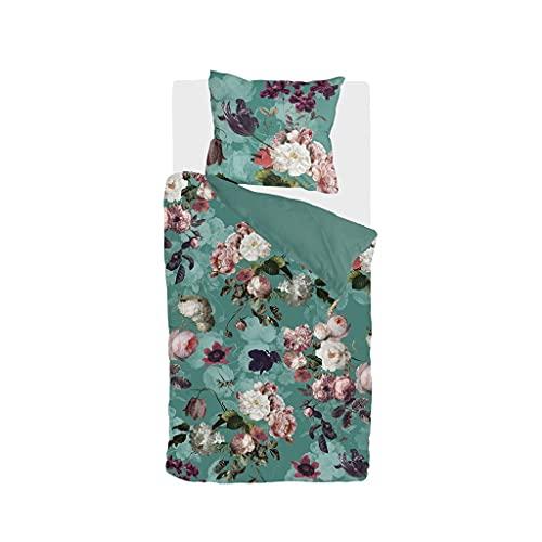 Byrklund Bettwäsche-Set Flowers United, 100% Baumwolle, 155x220, 2-teilig, Türkis