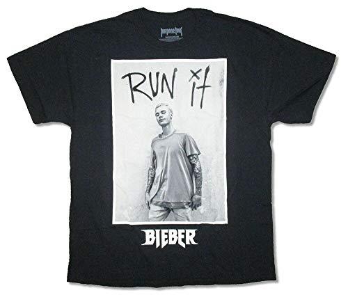 Justin Bieber Run It Image Black T Shirt New Purpose Tour Merch