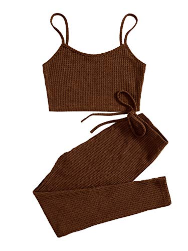 SOLY HUX Damen Top und Leggings Set Zweiteiler Spaghettiträger Camisole Tops Skinny Hose Sportswear-Set Fitness Outfit Trainingsanzug Kaffee Braun XS