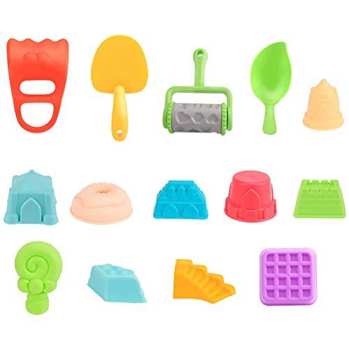 Juego de 17 juguetes de arena junto al mar, incluye castillo, cubo de regadera, kit de herramientas con bolsa de malla para verano, juguetes de playa al aire libre, regalo para niños y niñas, B