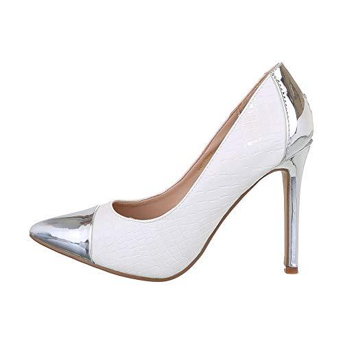 Ital Design Damenschuhe Pumps High Heel Pumps Synthetik Silber Weiß Gr. 39