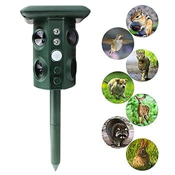 Répulsif Solaire Pour Chats, Animal Drive Ultrasonic Vibration Multi-Fonction Répulsif Pour Animaux Avec 4 Haut-Parleurs Et Lumière Clignotante, Pour Bird Fox Dog Cat Scarer,Vert
