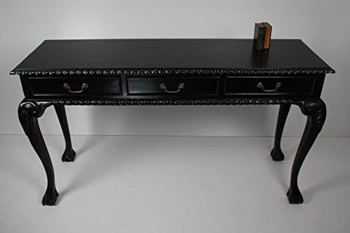 handmade Schreibtisch, Damenschreibtisch Art Chippendale in schwarz und 3 Schueben