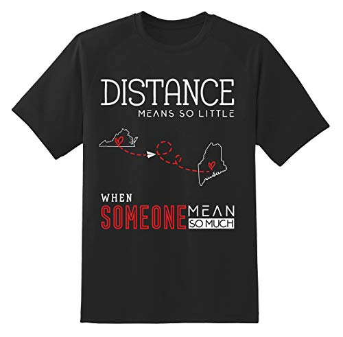 Virginia VA and Maine ME Shirts Long Distance State Relationships Gifts Funny Quote Gift Unisex Tshirt Black