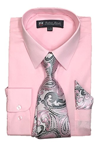 "Fortino Landi Men's Long Sleeve Dress Shirt with Matching Tie and Handkerchief (16-16.5"" Neck..."