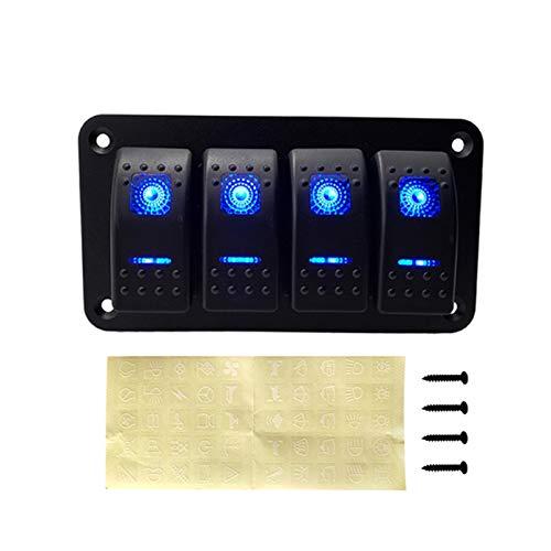 Qclj0412 2 4 6 Gang Duple LED Panel de interruptor de balancín de barco náutico para camiones Barco de interruptores de automóvil Bastidor de interruptores Disyuntor de circuito Piezas de repuesto