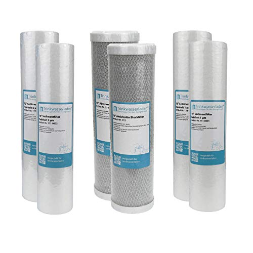 "1 Jahr Filter Set 10"" 6-teilig Ersatzfilter Umkehrosmose RO Sediment Aktivkohle"