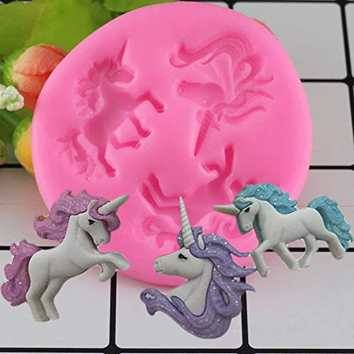 SKJH Unicorn Silicone Mold Birthday Cake Decorating Tools Candy Chocolate Gumpaste Polymer Clay Moulds
